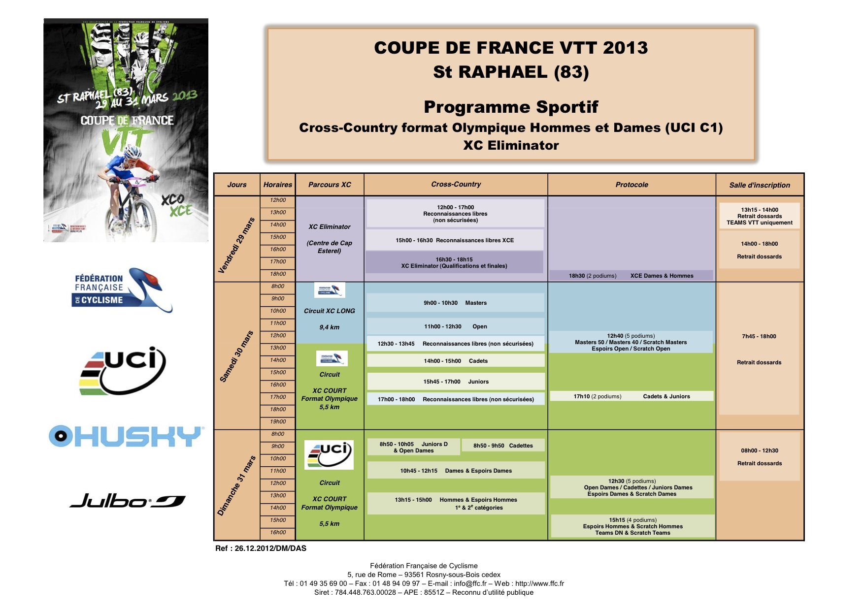 Programme CdF Saint Raph