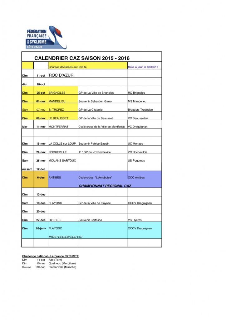 CALENDRIER CYCLO CROSS-2015-16