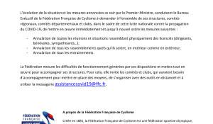 FFC-communiqué-décisions-FFC-samedi-14-mars-2020